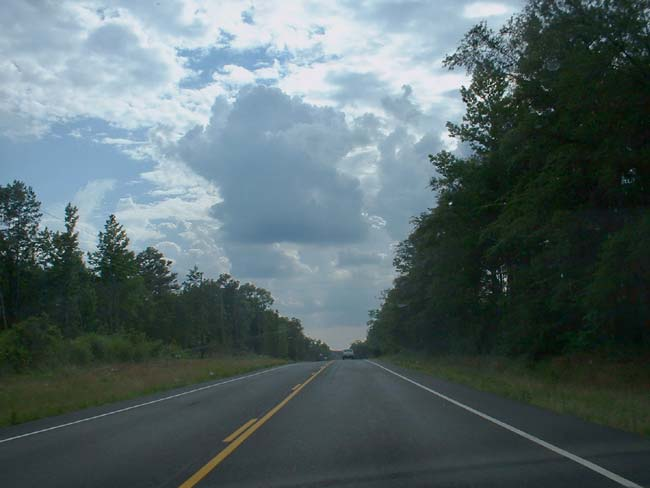 Go west, young man-- the view looking west on Arkansas Highway 10, heading for Oklahoma.