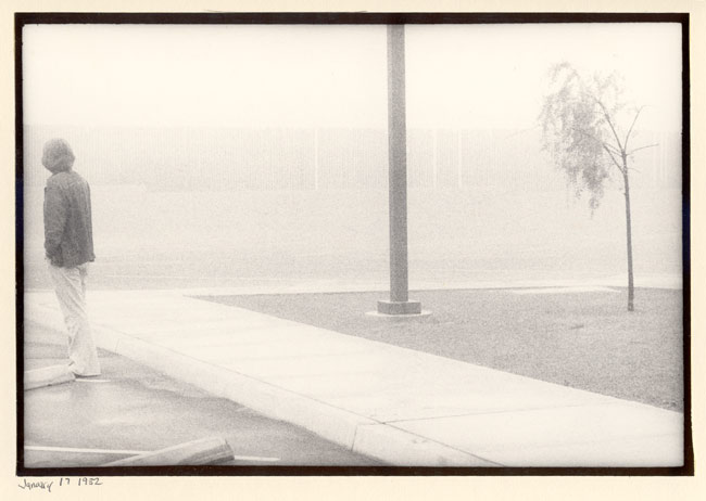 standing in a library parking lot, in a fairly typical Bakersfield fog