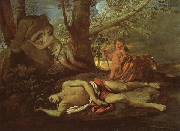 Echo and Narcissus by Poussin