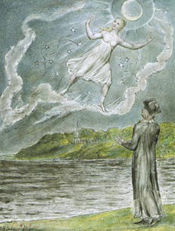 The Wandering Moon, from Blake's illustrations to Milton